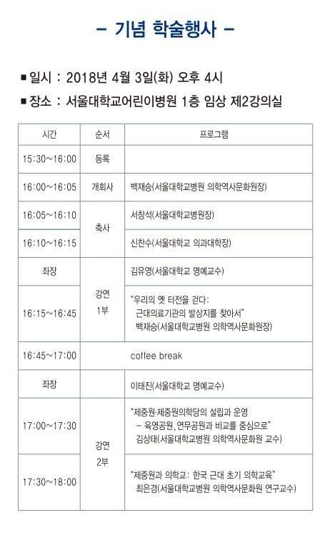 제중원 133주년 기념 학술강좌(2018)